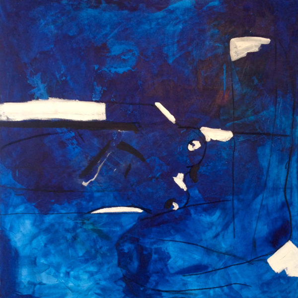 "Blue Woman, 2014, Acrylic and charcoal on canvas, 36""x36"""