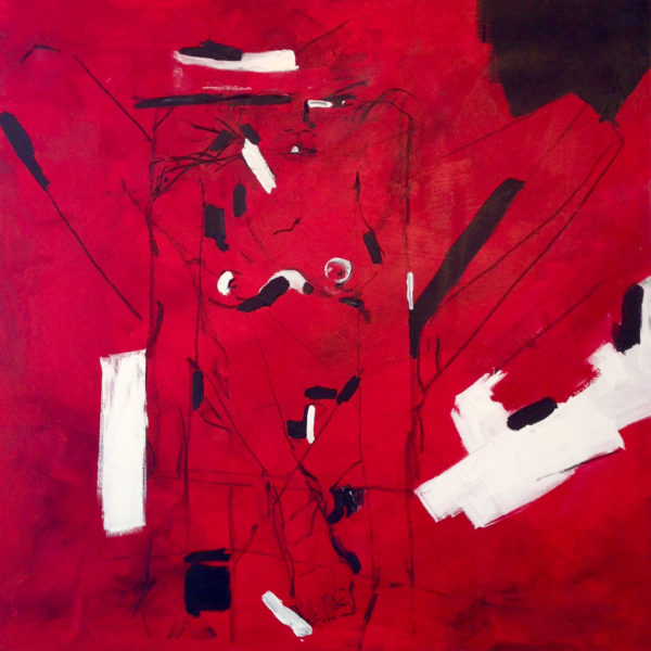 "Red Woman, 2014, Acrylic and charcoal on canvas, 36""x36"""