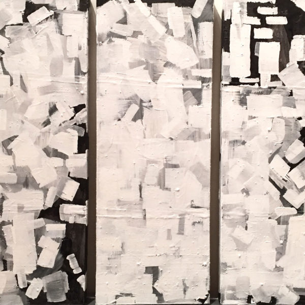 "Untitled, 2015, Acrylic and India ink on canvas, Triptych of 11.75""x31.5"" canvases"