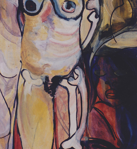 "Hermaphrodite, 1996, Acrylic on mdf, 18""x32"""
