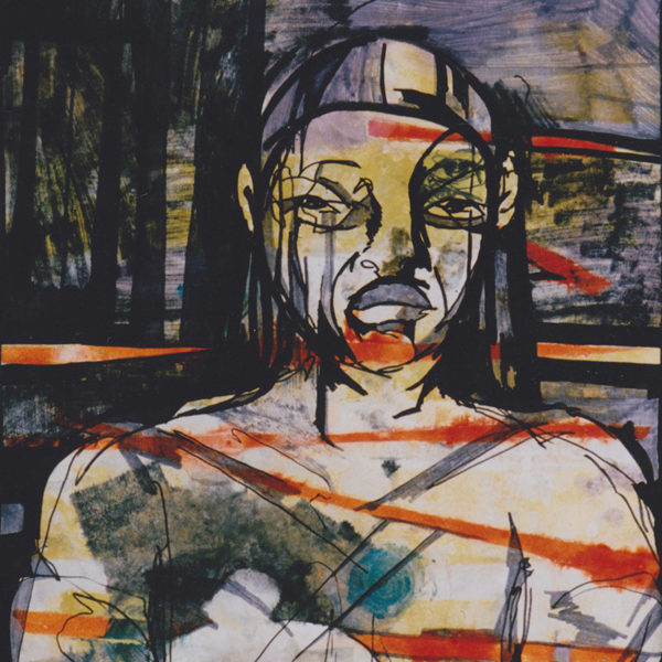 "Warrior, 1995, Oil print on linen paper, 24""x30"""
